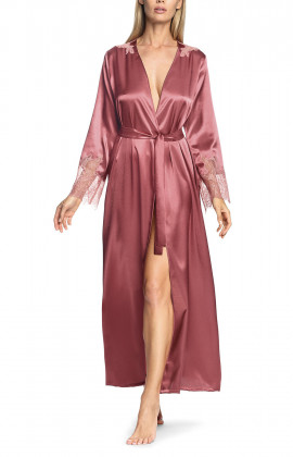 Long satin robe with lace cuffs