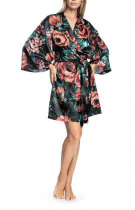 Kimono-style robe with flared, loose-fitting sleeves and floral pattern