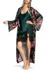 Calf-length robe with loose-fitting sleeves and floral pattern