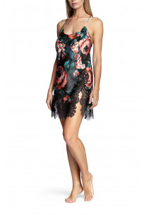 Floral pattern nightdress with thin straps that cross at the back and lace inserts - Fiorella range