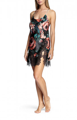 Floral pattern nightdress with thin straps that cross at the back and lace inserts