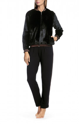 Black bomber jacket with two-tone bands at the cuff and collar
