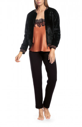 Black bomber jacket with two-tone bands at the cuff and collar - Gina range