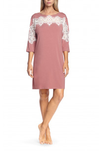 Tunic nightdress with three-quarter sleeves and lace inserts
