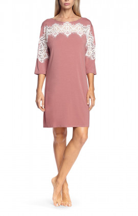Tunic nightdress with three-quarter sleeves and lace inserts - Antonia