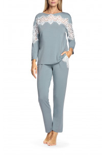 Two-piece micromodal fabric and lace pyjamas