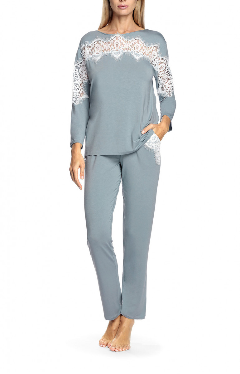 Two-piece micromodal fabric and lace pyjamas - Antonia