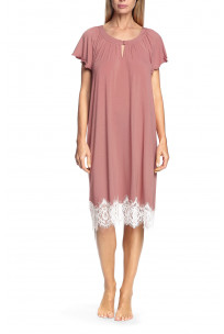 Short-sleeved frilly nightdress with lace - Antonia range