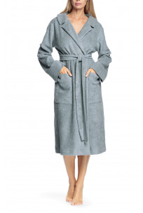 Long, long-sleeved robe belted at the waist