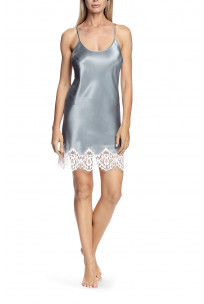 Satin and lace nightdress with thin straps that cross at the back - Lia range