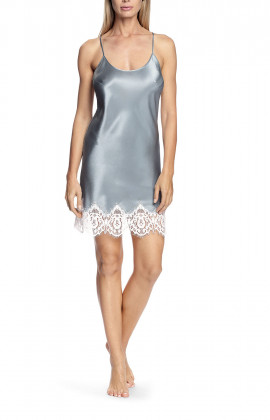 Satin and lace nightdress with thin straps that cross at the back