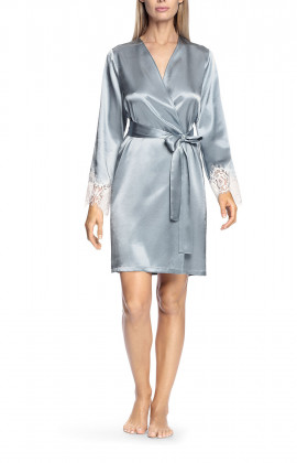 Sky blue satin and white lace robe - Lia