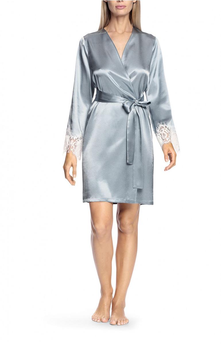 Sky blue satin and white lace robe - Lia
