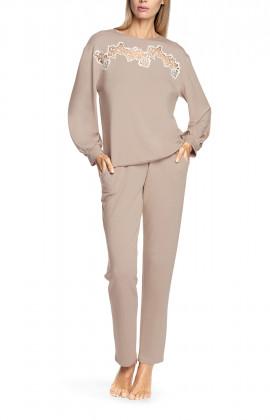 Pyjama 2 pièces beige, top manches longues et bouffantes