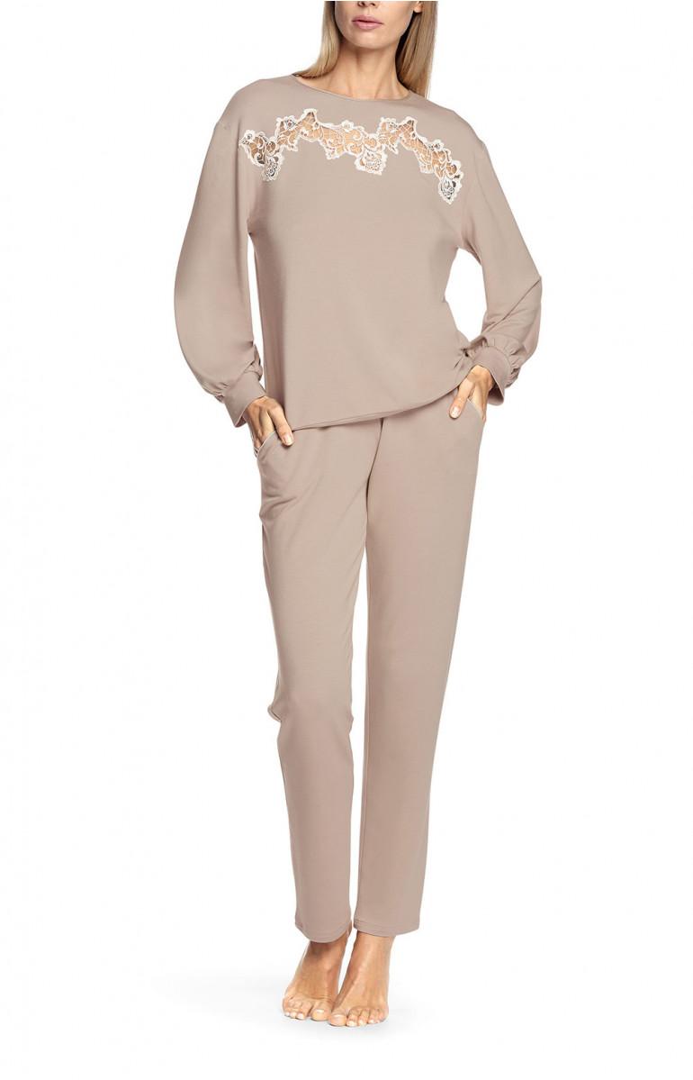 Pyjama 2 pièces beige, top manches longues et bouffantes. Coemi-lingerie