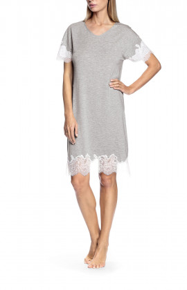 Short-sleeved light grey nightdress with lace inserts - Letizia