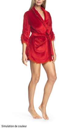 Short robe with ruffle and shawl collar