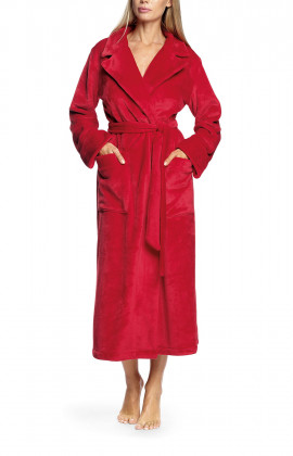 Long robe with lapel collar