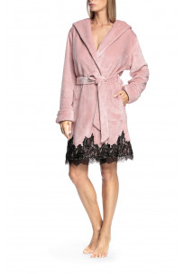 Lace-trimmed robe with lapel collar and hood - Wellness range