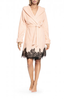 Lace-trimmed robe with lapel collar and hood