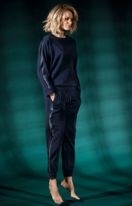 Dark blue sweatshirt with satin stripe on sleeves. Coemi Studio