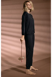 Long, black straight-cut jogger pyjama pants. Coemi Studio