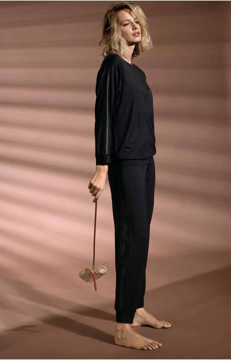 Bas de pyjama / tenur d'intérieur noir longues jambes droites. Coemi-lingerie