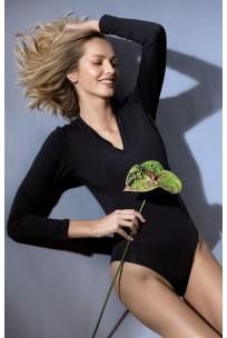 Long-sleeved V-neck bodysuit in black or white. Coemi Studio