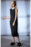 Sleeveless and backless loungewear dress with wide neck. Coemi Studio