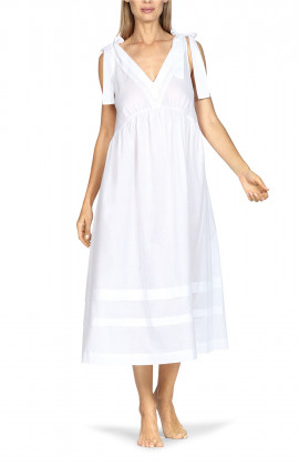 Long, white, loose-fitting sleeveless nightdress with shoulder ties.
