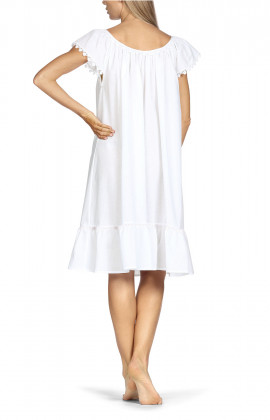 Knee-length nightdress with short, embroidery-trimmed sleeves.