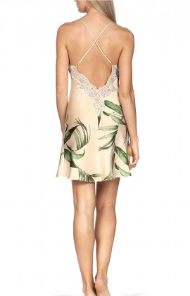 Nightdress with thin straps that cross at the back and lace inserts on the neck and backline.