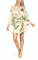 Short robe belted at the waist with flared sleeves and leaf print.