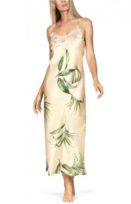 A long nightdress with lace inserts and thin straps that cross at the back.