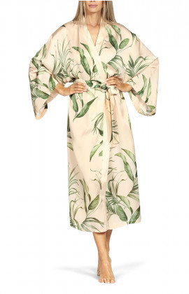 Long robe with flared batwing sleeves and leaf print.