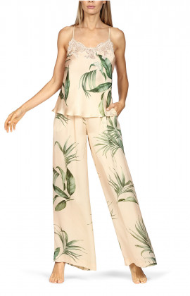 Set comprising a top with thin straps and long flared trousers. Leaf print.