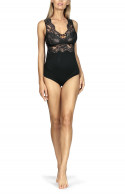 Sleeveless bodysuit with lace inserts. Straps that cross at the back and sides.