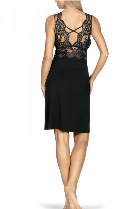 Sleeveless nightdress with wide bands of lace and crossover straps.