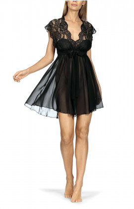 Sensual and romantic babydoll with lace and transparent tulle.