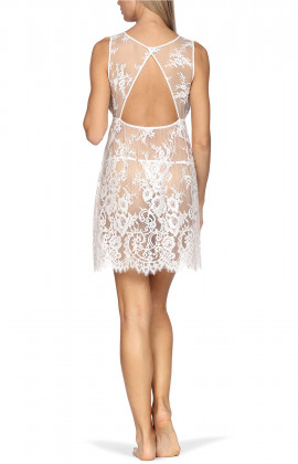 White, all-lace babydoll nightdress with transparent back and skirt.