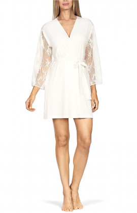 Short, mid-thigh-length robe with straight embroidered tulle sleeves.