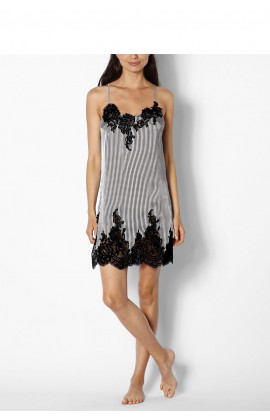 Striped nightdress with thin straps and lace inserts