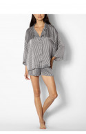 Two-piece striped pyjamas comprising a long-sleeved top and shorts