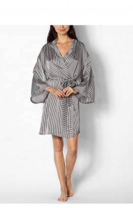 Long-sleeved, knee-length kimono-style dressing gown