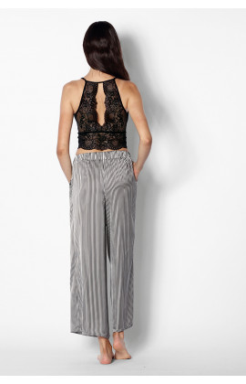 Striped culotte and black lace bralette set