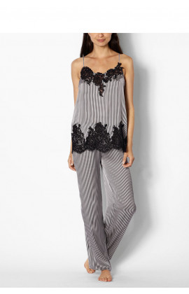 Two-piece striped pyjamas with strappy, lace-trimmed top