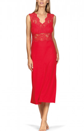 Long, sleeveless calf-length nightdress with lace and open back.