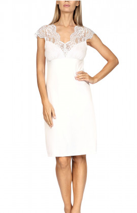 Knee-length nightdress with short sleeves and lace insert.