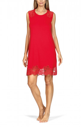 Sleeveless knee-length nightdress with floral lace.