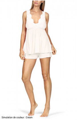 Nightset comprising a sleeveless lace-trimmed top and shorts. Coemi-lingerie